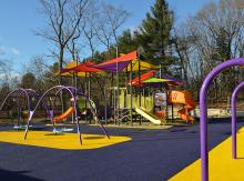 Wide view of new playground