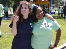 Student and teacher at Field Day